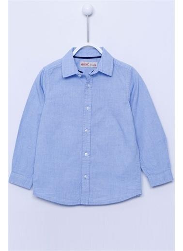 Silversun Kids Dokuma Gömlek Dokuma Uzun Kollu Yaka Biyeli Gömlek Erkek Çocuk Gc-213221 Mavi